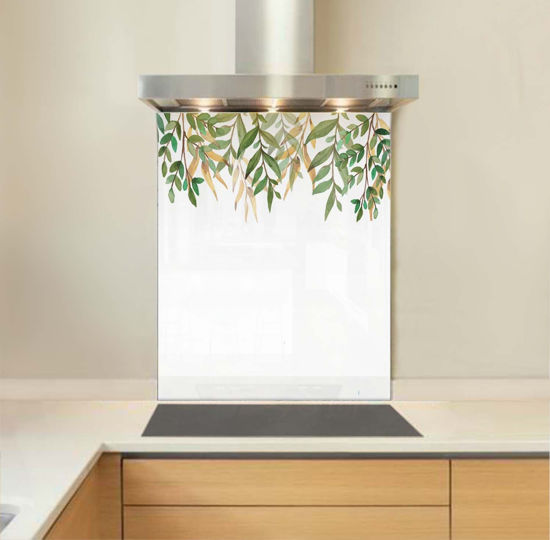 Picture of Watercolour Leaves Glass Splashback