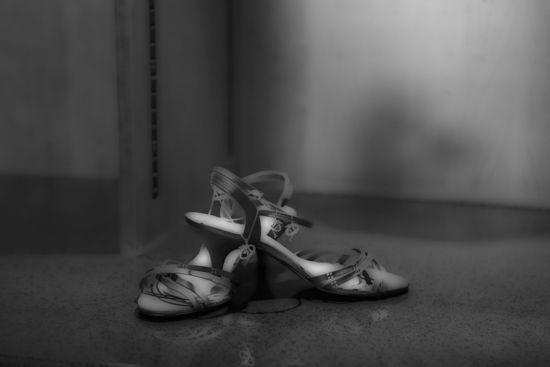 Picture of Black & White Shoes Glass Kitchen Splashback