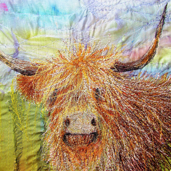 Picture of Highland Cow Embroidery Art Print Glass Kitchen Splashback