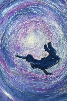 Picture of Swimming underwater embroidery art print Glass Kitchen Splashback