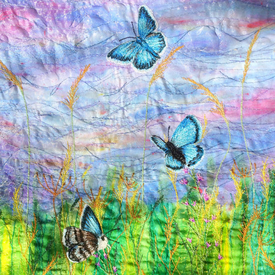 Picture of Butterflies and wildflowers embroidery art Glass Kitchen Splashback