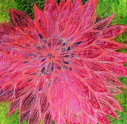 Picture of Pink Dahlia embroidery art print Glass Kitchen Splashback