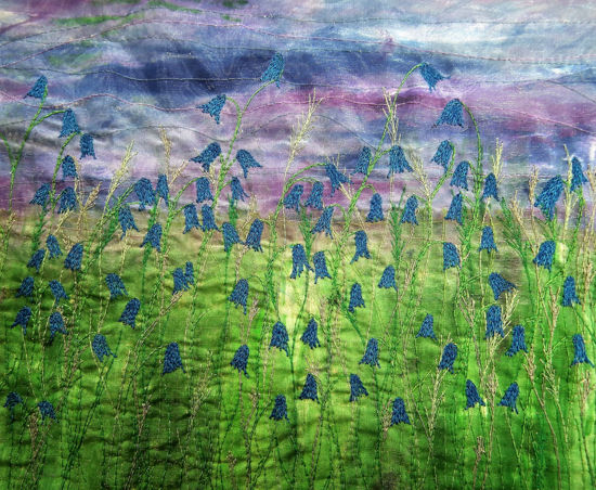 Picture of Bluebells embroidery art print Glass Kitchen Splashback