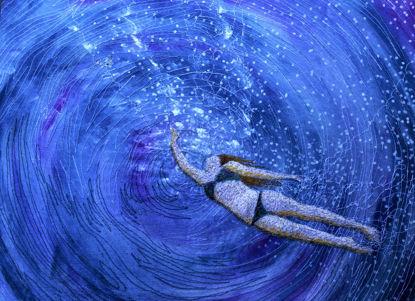 Picture of Underwater playtime embroidery art print Glass Kitchen Splashback