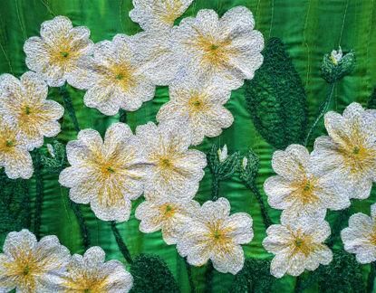 Picture of Primrose embroidery art print Glass Kitchen Splashback